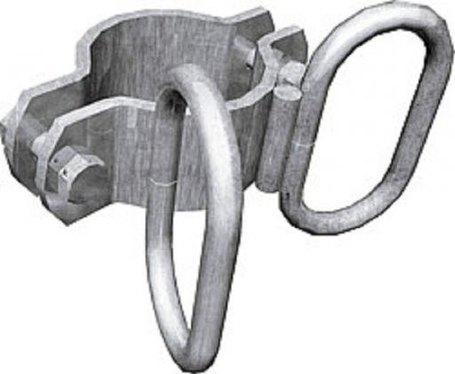 Schelle d=76 mm, 2 Riegelhalter winklig, vz - 303478