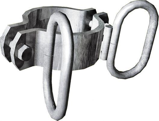 Schelle d=102 mm, 2 Riegelhalter,winklig, vz