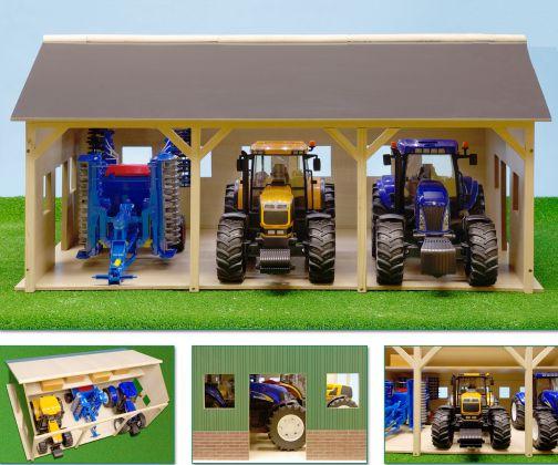 Fienile giocattolo in legno con sala di mungitura e box per vacche
