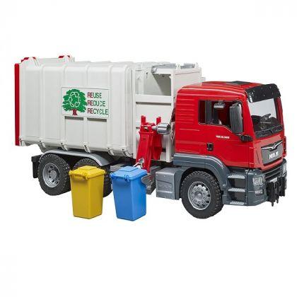 Bruder - 03761 - Pattumiera uomo TGS con 2 contenitori per rifiuti - rossa