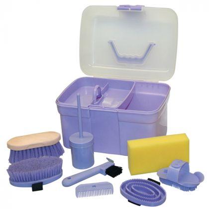 Cura del cavallo   Set di attrezzi per la cura e l'igiene   Set di attrezzi per la cura e l'igiene con contenuti, per i bambini 8 parti