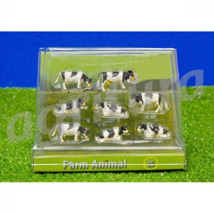 Otto mucche bianche e nere in scala 1:87 Sdraiate/in piedi