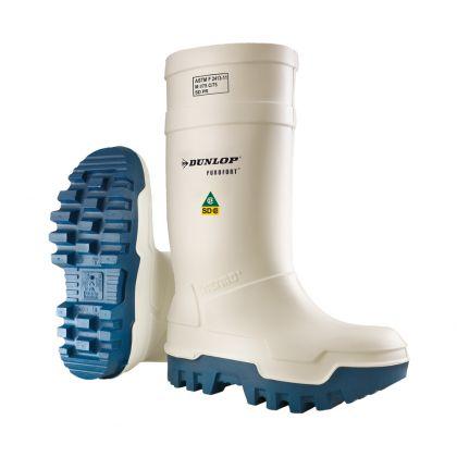 Stivali da Lavoro Dunlop Purofort + Thermo Colore Bianco/Blu, Con Puntale In Acciaio